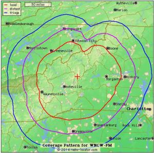 WNCW coverage map